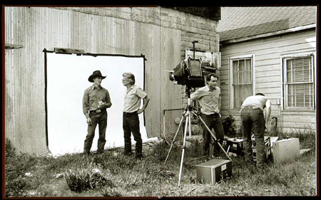 Richard Avedon talking with a model of his In the American West series