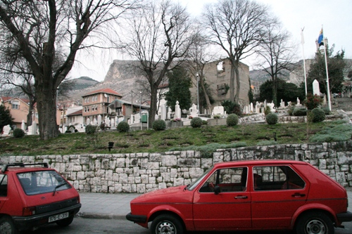 A graveyard in the city of Mostar