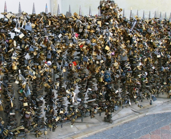 Padlocks in Pécs, Hungary
