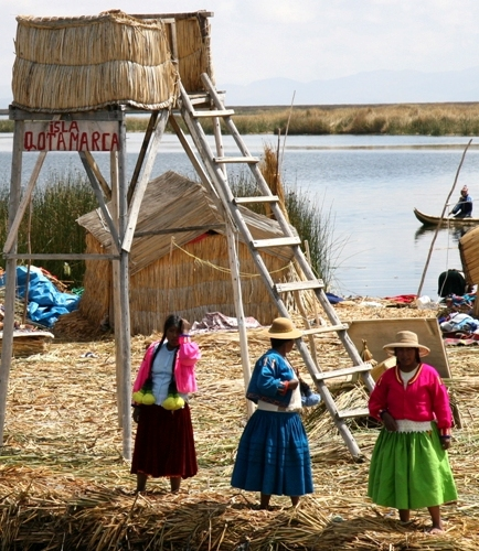 Women on a floating island - Lake Titicaca, October 2008